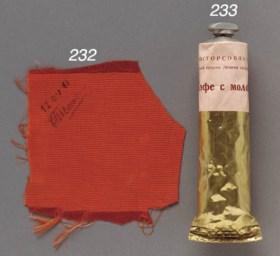[GAGARIN]. Original orange cloth cover for mirror on Gagarin