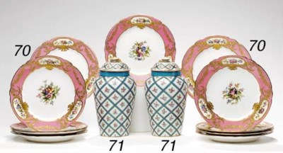 A PAIR OF SÈVRES STYLE TURQUOI