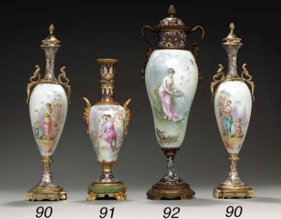A PAIR OF ORMOLU AND CHAMPLEVÉ