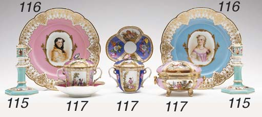 FOUR SÈVRES STYLE PINK OR TURQ