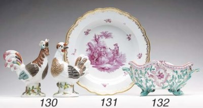 A MEISSEN SERPENTINE OVAL TWO-