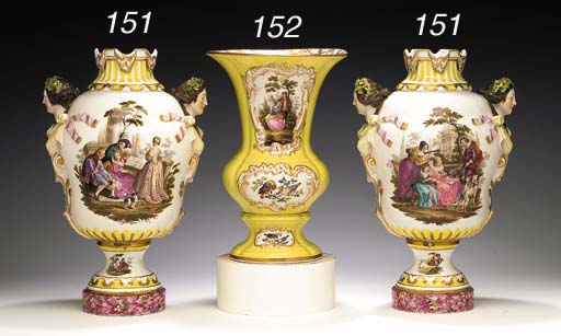 A PAIR OF MEISSEN STYLE TWO-HA