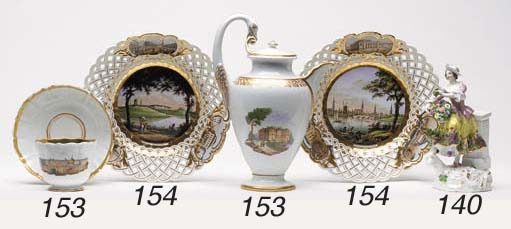 TWO MEISSEN OUTSIDE-DECORATED
