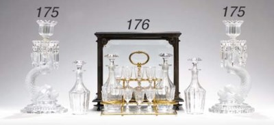 A CONTINENTAL BRASS AND GLASS