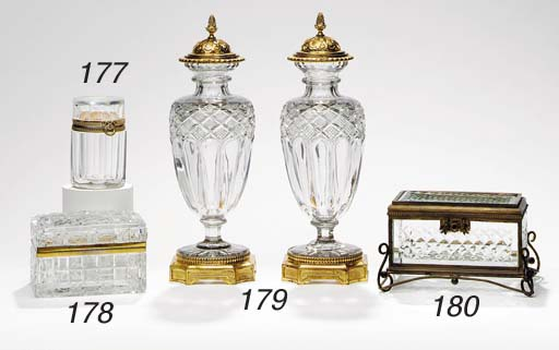 A BACCARAT CUT-GLASS BOX AND C