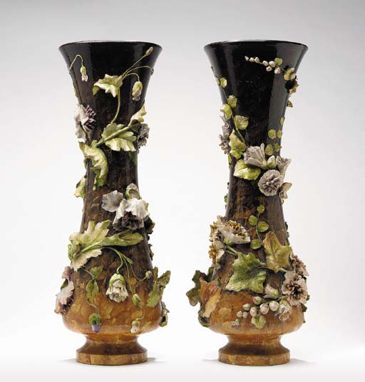 A PAIR OF FRENCH POTTERY FLOWE