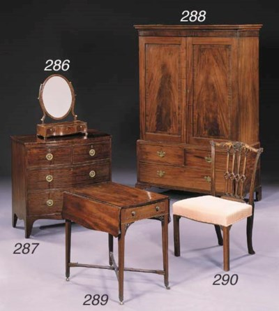 A REGENCY MAHOGANY CHEST-OF-DR