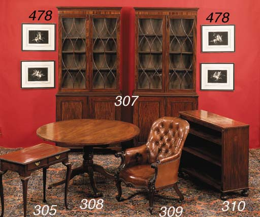 A REGENCY MAHOGANY AND EBONIZE