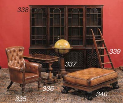 A MAHOGANY AND BRASS LIBRARY L