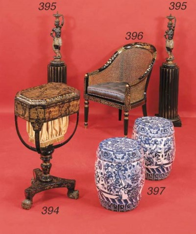 A CHINESE BLACK, RED AND GILT-