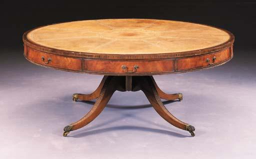 A VICTORIAN MAHOGANY DRUM TABL