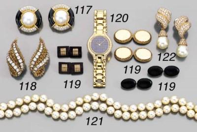 A LADY'S 18K GOLD, SAPPHIRE AN