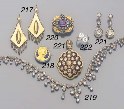 A SUITE OF ANTIQUE DIAMOND AND