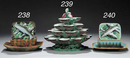 A MINTON MAJOLICA FOUR-TIERED