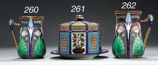 A WEDGWOOD MAJOLICA BLUE-GROUN