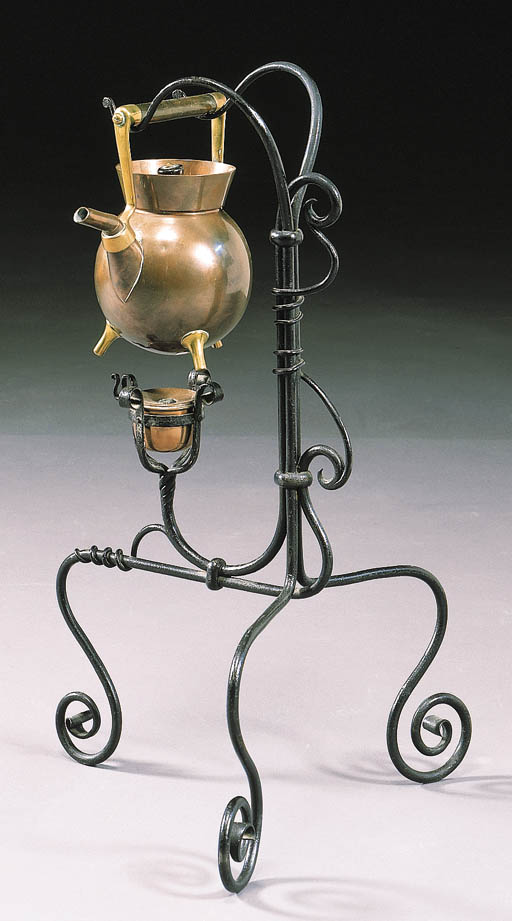 A WROUGHT-IRON, COPPER AND BRA