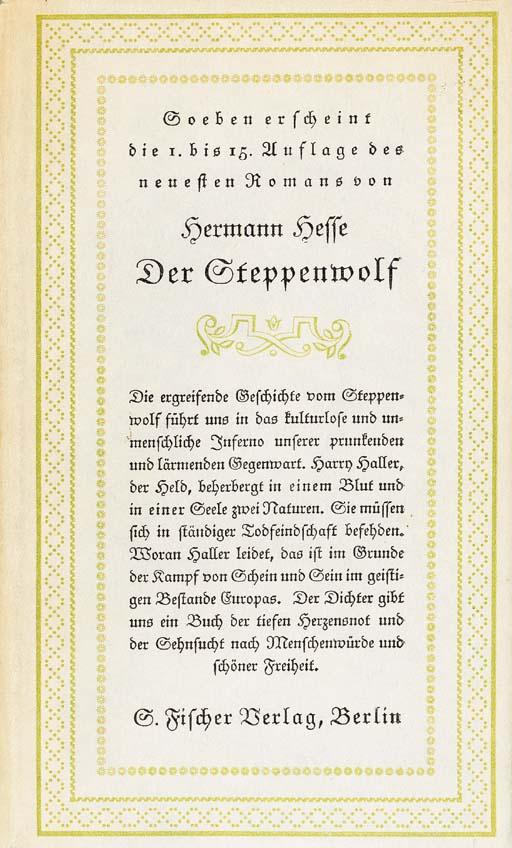 HESSE, Hermann. Der Steppenwol