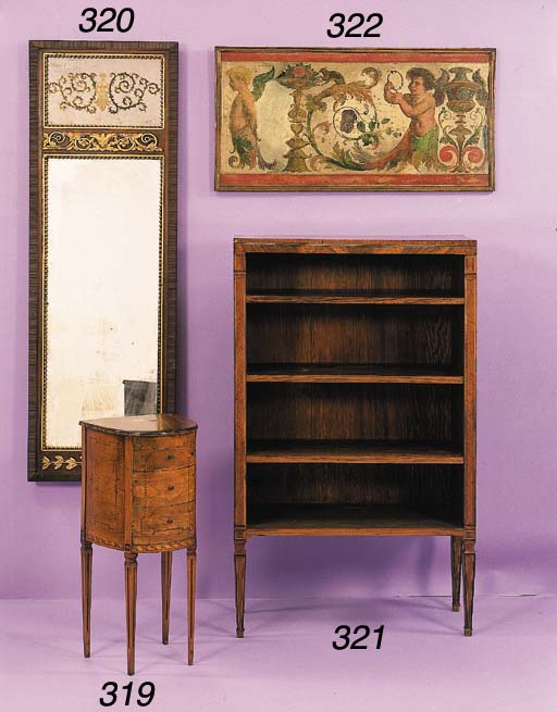 AN ITALIAN NEOCLASSIC STYLE ROSEWOOD AND FRUITWOOD MARQUETRY BOOKCASE