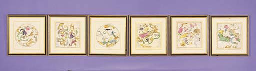SET OF SIX CELESTIAL CHARTS HAND COLORED ENGRAVINGS
