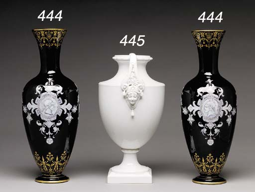 A BERLIN WHITE TWO-HANDLED SHIELD-SHAPED VASE