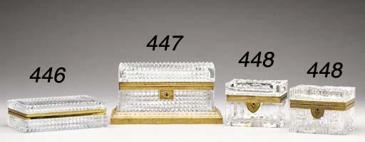 A FRENCH GILT-METAL MOUNTED CUT-GLASS RECTANGULAR BOX