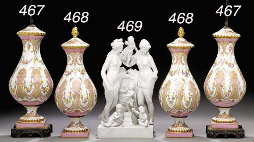 A SÈVRES STYLE BISCUIT ALTAR FIGURE GROUP
