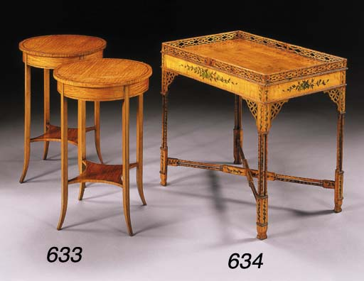 A LATE VICTORIAN POLYCHROME-DECORATED BIRD'S EYE MAPLE SILVER TABLE
