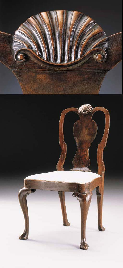 A QUEEN ANNE CARVED WALNUT SID