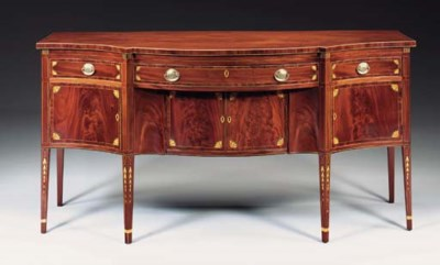 A FEDERAL INLAID MAHOGANY SIDE