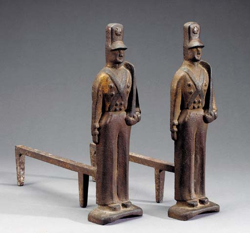 A PAIR OF CAST-IRON SOLDIER AN
