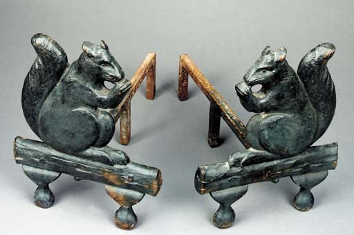 A PAIR OF CAST IRON SQUIRREL A