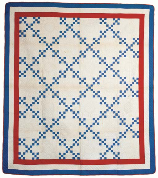 TWO RED, WHITE AND BLUE PIECED