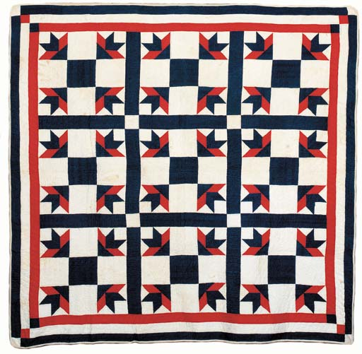 RED WHITE AND BLUE PIECED COTT