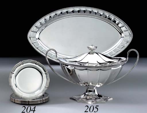 A SILVER SOUP TUREEN WITH COVE