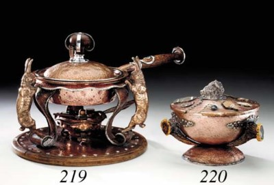 A SILVER-MOUNTED COPPER CHAFIN