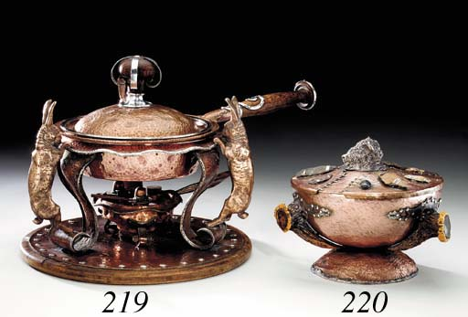 A SILVER-MOUNTED COPPER BOWL A