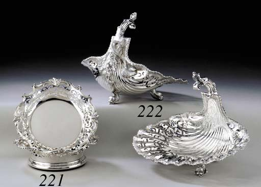 A PAIR OF SILVER SHELL-FORM BA