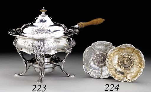 A SILVER CHAFING DISH WITH COV