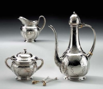 A THREE-PIECE SILVER COFFEE SE