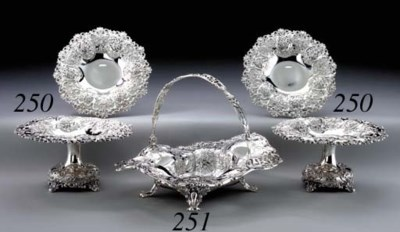 TWO PAIRS OF SILVER COMPOTES