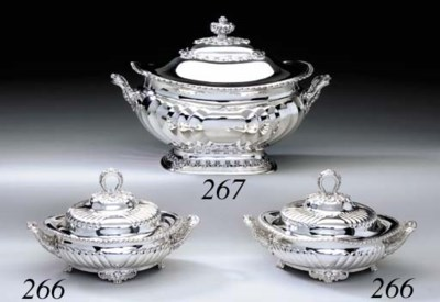A PAIR OF SILVER SAUCE TUREENS