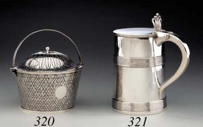 A SILVER BUTTER DISH AND COVER