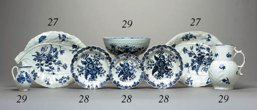 SIX WORCESTER BLUE AND WHITE S