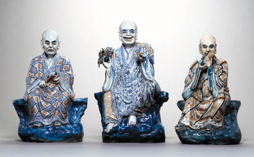 THREE LARGE CHINESE FIGURES OF