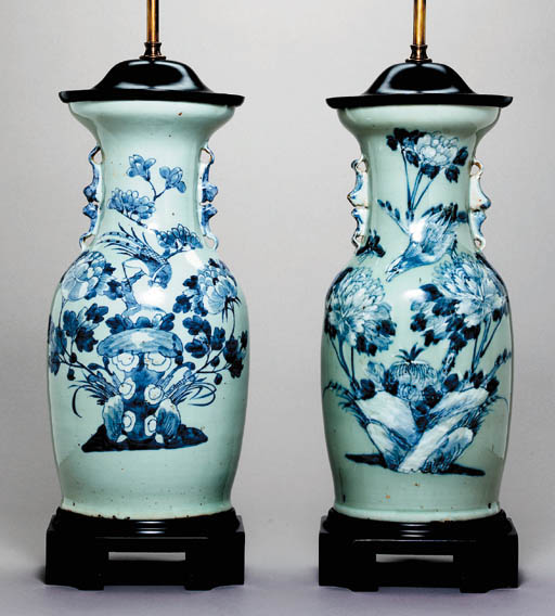 A PAIR OF CHINESE CELADON-GROU