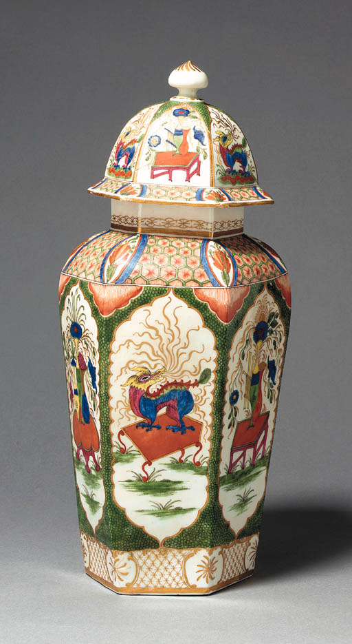 A WORCESTER HEXAGONAL VASE AND