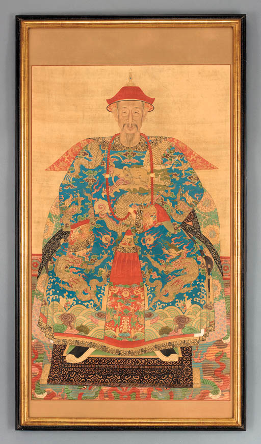 A CHINESE PAINTED SILK ANCESTR