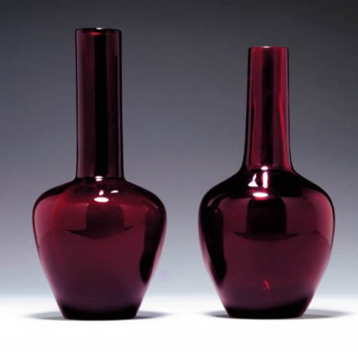 Two Transparent Red Glass Bott
