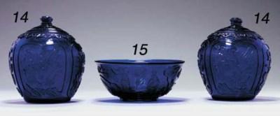 A Carved Transparent Blue Glas
