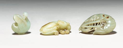 Three Small Jade Animal Carvin